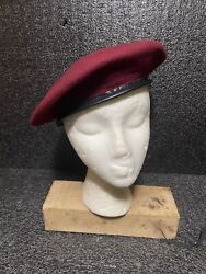 Vtg Army Wool Beret Burgundy Made In South Africa Sz M