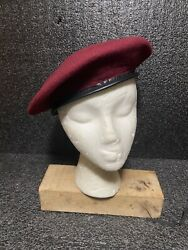 Vtg Army Wool Beret Burgundy Made In South Africa Sz L