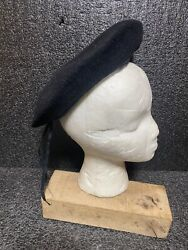 Vtg Army Wool Beret Black Made In South Africa Sz S