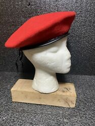 Vtg Army Wool Beret Red Made In South Africa Sz M