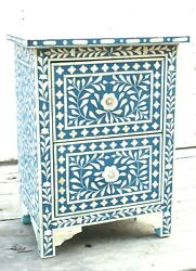 Handmade Bone Inlay Blue Bed Side Wooden Table Antique Nightstand End Table Bn85