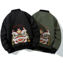 Winter Womens Animal Embroidered Baseball Jacket Ethnic Quilted Thicken Jacket L