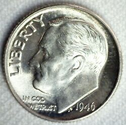 1946 Roosevelt Silver Bu Dime Brilliant Uncirculated 10c Us Coin Philadelphia