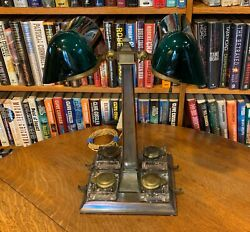 Antique Emeralite Twin Bankers 8734 Desk Lamp With Ink Wells And Covers