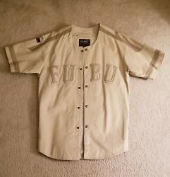 Rare Fubu Leather Baseball Jersey Sz L Cream In Color With Tan Lettering