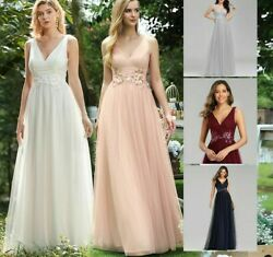Evening Weddings Dress Gowns Appliques Sleeveless Tulle A Line Double V Neck New $96.89