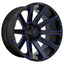 4-fuel D644 Contra 22x12 6x135/6x139.7 -43mm Gloss Black Blue Tinted Clear