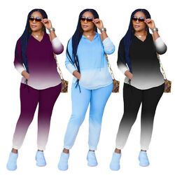 Fashion Clubwear Women Gradient V Neck Hoodie Long Sleeves Casual Sport Outfits