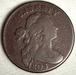 1803 Draped Bust Us Copper 1c Penny Very Good Circulated Coin