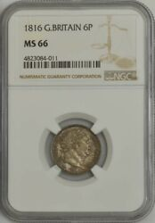 1816 Great Britain 6 Pence Sixpence Ms66 Ngc 943596-11
