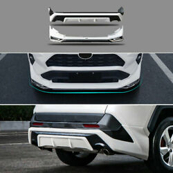 Fit For 2019-2021 Toyota Rav4 White+black Front Rear Bumper Lip Spoiler Splitter