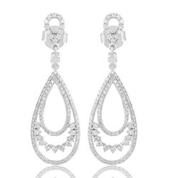 Si/hi Pave Diamond Dangle Earrings Solid 18k White Gold Fine Jewelry Xmas Gift