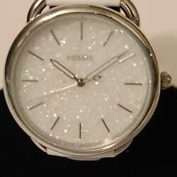 Fossil Women#x27;s Tailor White Crystal Dial White Leather Watch ES4495 $45.00