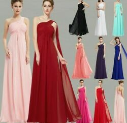 Evening Weddings Gown Dress One Shoulder Ruffles Padded Criss Cross Ankle Length $83.29