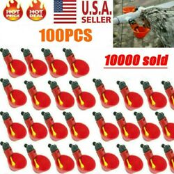100x Poultry Water Drinking Cups Chicken Hen Plastic Automatic Drinker Usa New