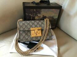 Gucci Padlock small GG shoulder canvas and metal bag 8#x27; x5#x27; x3#x27; $850.00