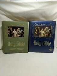Holy Bible Master Reference 1971 Green + Blue Masonic Editions Heirloom Vintage