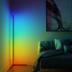 Dimming Black And White Lamp Modern Rgb Remote Led Floor Lamps Standing Corner