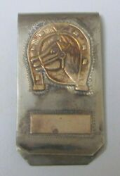 Rare Vintage Sterling Silver 925 And Gold Horse Head And Horseshoe Money Clip