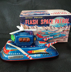 Antique Japanese Tin Toys Topre Frash Space Patrol Mystery Run Made In Japan M