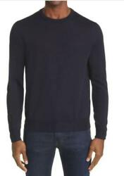 Canali Mens 58 Navy Blue Solid Merino Wool Crewneck Sweater Pullover Italy Made