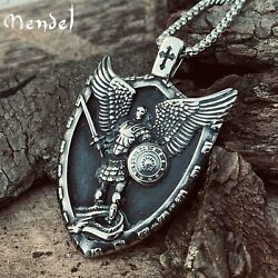 MENDEL Mens Christian Shield Cross Archangel Angel Michael Pendant Necklace Men $17.99