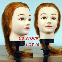 Lot 10 Of Brand New 18 Golden Hair Cosmetology Female Mannequin Head With Clamp
