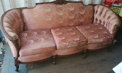 Vintage French Provincial Louis Xiv Style Sofa Ornate Carved Wood Victorian Pink