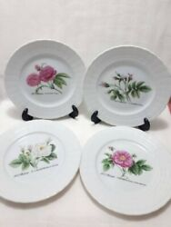 Set Of 4 Vintage Bread And Butter Plates By Hutschenreuther. Germany. Rose Plate