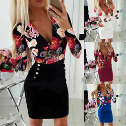 Womens Floral Bodycon Mini Dress Ladies Evening Party Sexy Long Sleeve Dresses $15.99