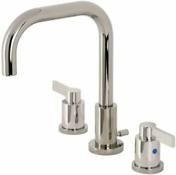 Kingston Brass Nuvofusion Widespread Bathroom Faucet, Polished Nickel New
