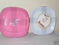 Backyard Bbq Pink Melamine Plate Serving Pool Outdoor Picnic Beach Square