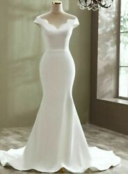Simple Weddings Dress Gowns Sexy Soft Satin Court Train Flowers A Line Boat Neck