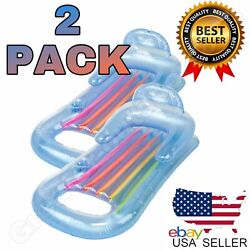 2 King Kool Lounge Floating Swimming Pool Lounger with Headrest Cupholder