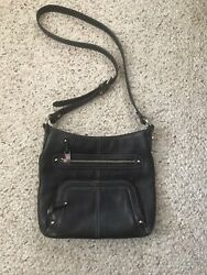 Tignanello Black Crossbody Leather Handbag Purse Organizer $25.99