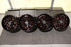 Yamaha Grizzly 660 14 System 3 St-4 Red And Blk Atv Wheels Set 4 Irs1ca
