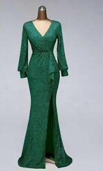 Gown Formal Party Wedding Dress Sexy Pleat V Neck Floor Length Polyester Vintage