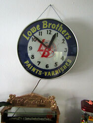 Lackner 1950's 18 X 18 X 4 Lowe Brothers Paints-varnishes Clock