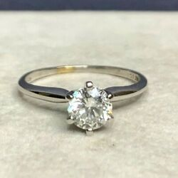 Vintage Signed Exquisite 14k White Gold Diamond Ring .66cts T.d.w.