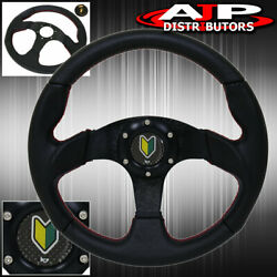 Universal Full Pvc Leather 6bolt Steering Wheel Red Stitch Wakaba Horn Button