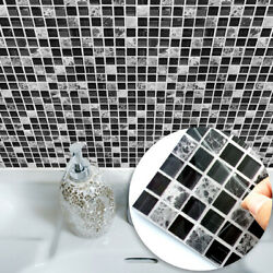 10pc 3D Mosaic Tile Stickers Self Adhesive Kitchen Waterproof PVC Wall Stickers