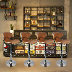 Set Of 4 Bar Stools Pub Dining Counter Chair Leather Adjustable Swivel Usa New