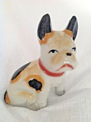 Miniature Terrier Dog Ceramic Red collar with spots figurine Japan