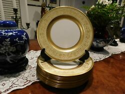 11 Antique Crown Staffordshire China Plates Gold And Cream 10 1/4 Diameter