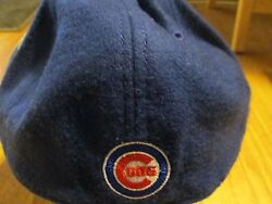 Chicago Cubs Cap Wool/acrylic Fitted 200 Pc Lite Navy Mlb Genuine Merchandise