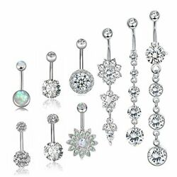 Besteel 10 Pcs Surgical Steel Dangle Belly Button Rings A9 Pcs Sliver-tone