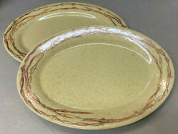 2 Oval Serving Platters 14 Eve Armson Barbwire Collection Cowboy Living West
