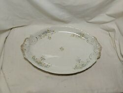Antique Warwick China White Ironstone Acanathus Leaf 18 X 12 Platter Floral Gold