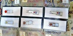 1972 Vintage Japan Sapporo Olympic Badge Tie Clip With Box Rare Set Of 6