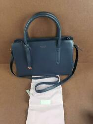 RADLEY London Liverpool Street Smooth Leather Satchel Purse Navy Blue QVC $258 $84.00